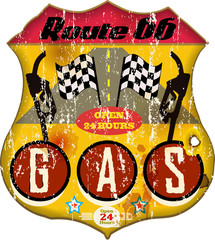 route 66 gas station sign,retro style, vector eps 10