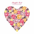 Floral heart with bright colors on white background