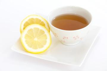Cup of tea with lemon slice