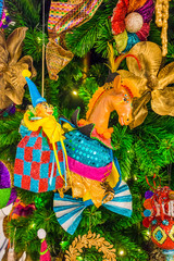 Colorful Christmas tree ornaments and decorations