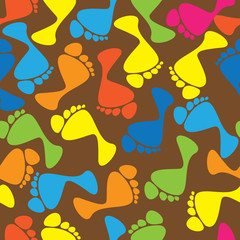 colorful human traces seamless pattern