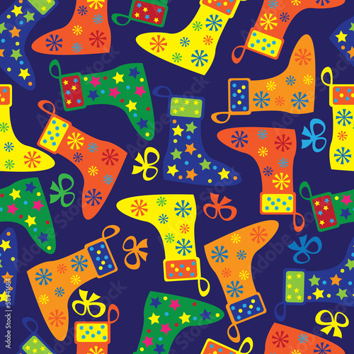 colorful Christmas socks seamless pattern