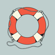 Detailed outlines, colored nautical life buoy - 58942474
