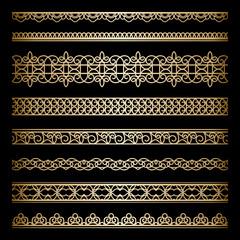 Set of gold borders on black