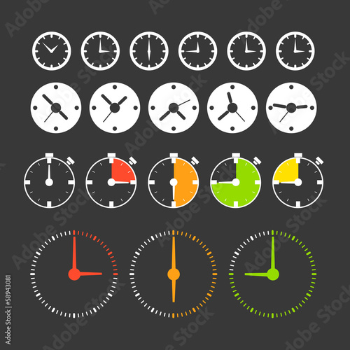 Different phases of clocks. Icon collection
