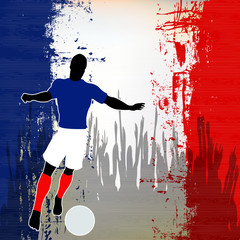 Football France, Vector Soccer player over a grunged French Flag