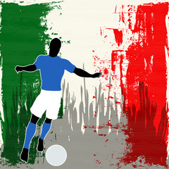 Football Italy, Vector Soccer player over a grunged Italian Flag