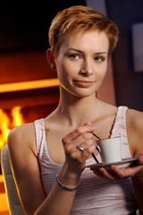 Pretty woman with coffee