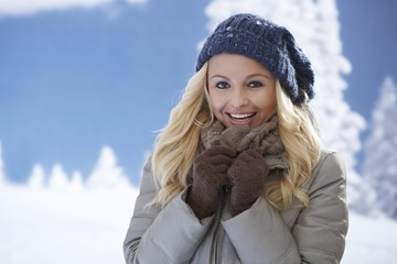 Winter portrait of attractive woman