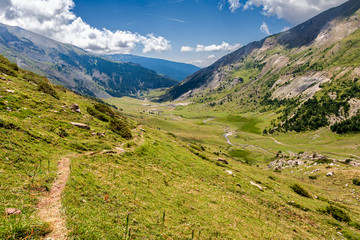 Path along high mountains in the Spanish Pyrenees