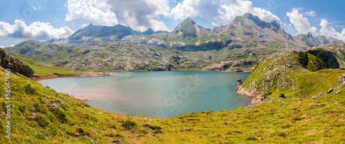 Panorama of Estanes Lake  in the Spanish Pyrenees