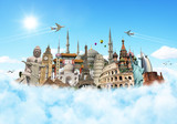 Fototapety Travel the world monuments clouds concept