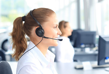 Beautiful female call center operator