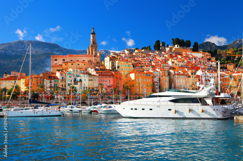 Menton - colorful port , south of France