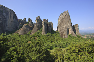 Rocks of Meteora in late afternoon