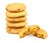 isolated pumpkin cookie with raisins