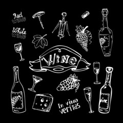 Wine set on chalkboard