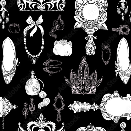 Seamless princess accessories on black - 58949201