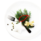 Fir Tree Branch and Christmas table place setting with christma