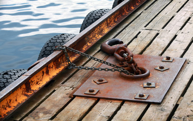 Mooring equipment on wooden pier in Norway Sea