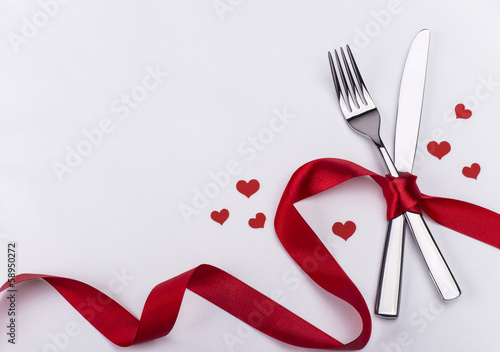 Fork and knife for Valentines Day - 58950272