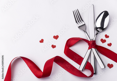Fotobehang Boord Celebration set with silverware