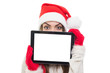 Cute Santa girl hiding behind tablet computer