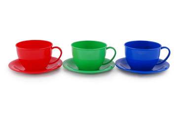Collection of children's toys cups (Clipping path)