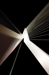 Abstract View of Big White Suspension Bridge Cables