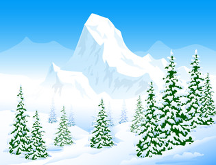 Winter Landscape- Vector