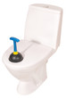 White toilet bowl and plunger (Clipping path)