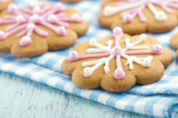 Christmas gingerbread cookies with frosting