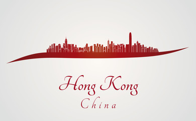 Hong Kong skyline in red