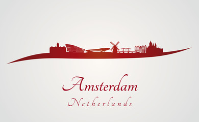 Amsterdam skyline in red