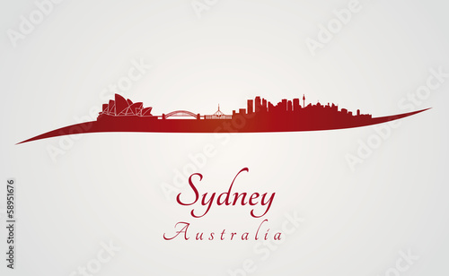 Sydney skyline in red