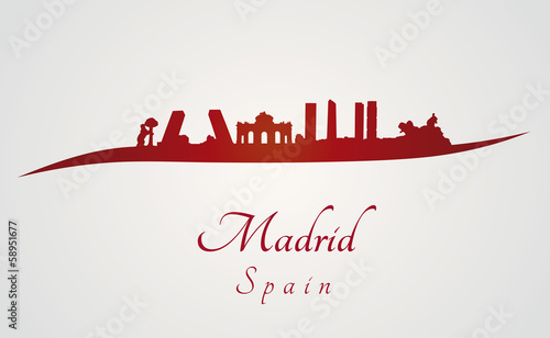 Madrid skyline in red