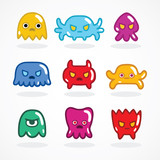 Retro video game monsters set