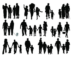 Black silhouettes of family, vector