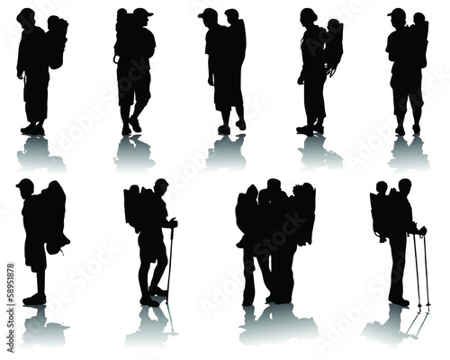 Silhouettes  of children in baby backpack, vector
