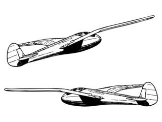 Glider sailplane in flight. Vintage style vector illustration.