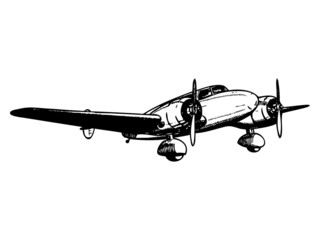 Twin engine passenger plane. Vintage style vector illustration.