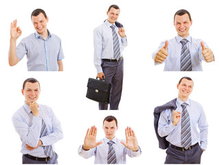 Young businessman isolated set