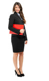 Smiling full length businesswoman isolated