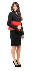 Smiling full length businesswoman isolated