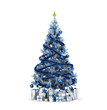Isolated blue Christmas tree with gold stars and presenrs