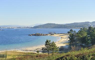 Galician coast in Rias Baixas landscape