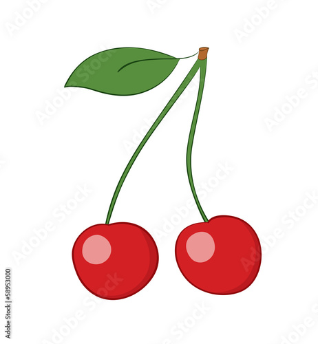ripe cherries - vector