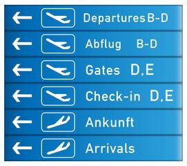 Hinweisschild Flughafen