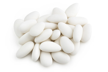 heap of white sugared almonds