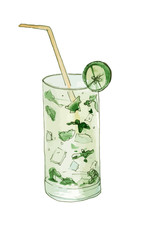 Hand drawn cocktail Mojito